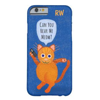 Capa Barely There Para iPhone 6 Monograma alaranjado bonito da chalaça do Meow dos