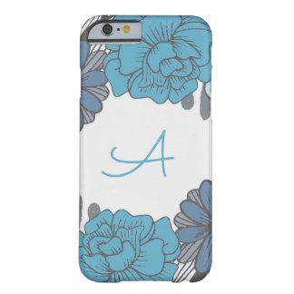 Capa Barely There Para iPhone 6 Monograma retro, flores azuis