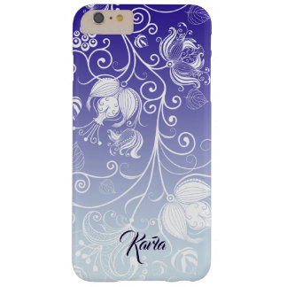 Capa Barely There Para iPhone 6 Plus Ombre roxo & branco 3 do design floral branco