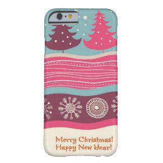 Capa Barely There Para iPhone 6 Teste padrão retro cor-de-rosa bonito da árvore do