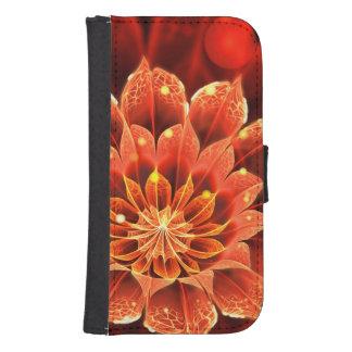 Capa Carteira Em chamas em uma flor vermelha do Fractal da dália
