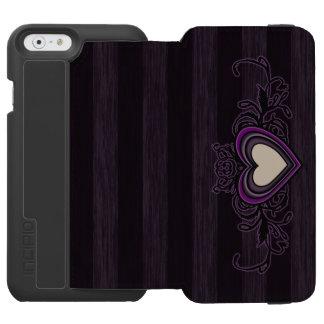 Capa Carteira Incipio Watson™ Para iPhone 6 Coração sujo roxo da obscuridade das listras
