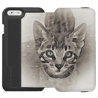 Capa Carteira Incipio Watson™ Para iPhone 6 Desenho do gatinho de Bengal