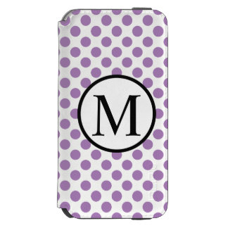 Capa Carteira Incipio Watson™ Para iPhone 6 Monograma simples com bolinhas da lavanda