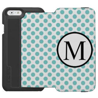 Capa Carteira Incipio Watson™ Para iPhone 6 Monograma simples com bolinhas do Aqua