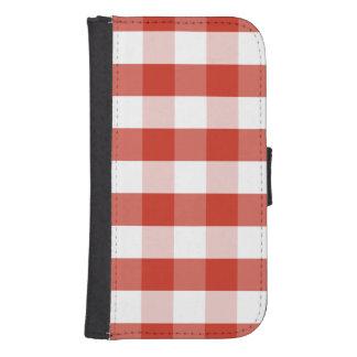 Capa Carteira Para Galaxy S4 Xadrez vermelha & branca da dália luxúria do