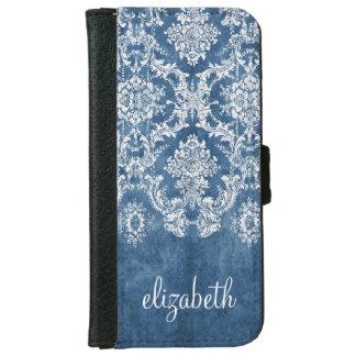 Capa Carteira Para iPhone 6/6s Cor damasco e nome azuis do vintage da safira