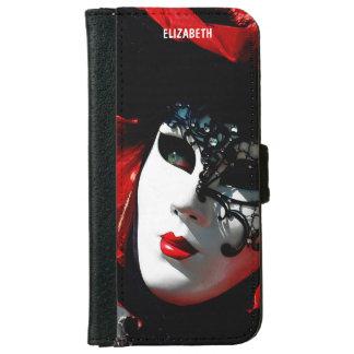 Capa Carteira Para iPhone 6/6s Máscara vermelha tradicional colorida do carnaval