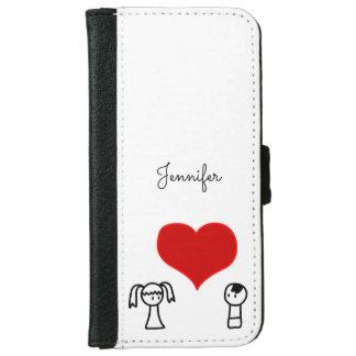 Capa Carteira Para iPhone 6/6s Menino bonito e menina no doodle do amor