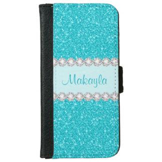 Capa Carteira Para iPhone 6/6s O brilho azul do Aqua Sparkles caixa da carteira