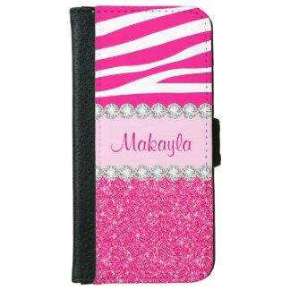 Capa Carteira Para iPhone 6/6s O brilho cor-de-rosa Sparkles caixa da carteira do