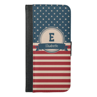 Capa Carteira Para iPhone 6/6s Plus Monograma patriótico da bandeira das listras