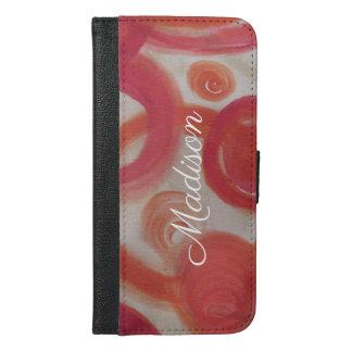 Capa Carteira Para iPhone 6/6s Plus Pintura abstrata do rosa e da laranja