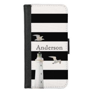 Capa Carteira Para iPhone 8/7 Farol e gaivotas em listras brancas pretas