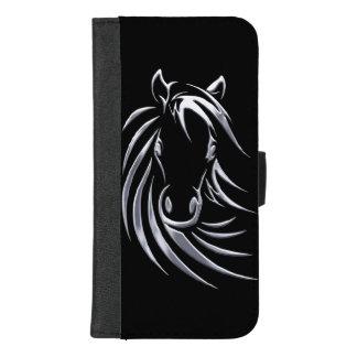 Capa Carteira Para iPhone 8/7 Plus Cabeça de cavalo de prata