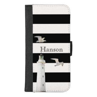 Capa Carteira Para iPhone 8/7 Plus Farol e gaivotas em listras brancas pretas