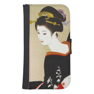Capa Carteira Para Samsung Galaxy S4 Mulher japonesa legal da senhora da gueixa da bele