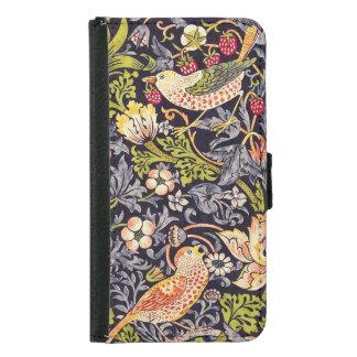 Capa Carteira Para Samsung Galaxy S5 Arte floral Nouveau do ladrão da morango de
