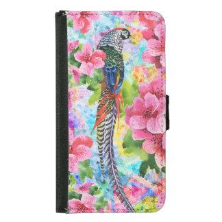 Capa Carteira Para Samsung Galaxy S5 Camponês selvagem colorido & flores cor-de-rosa