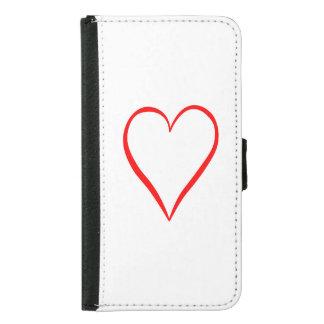 Capa Carteira Para Samsung Galaxy S5 Coração pintado em pano de fundo branco