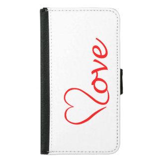 Capa Carteira Para Samsung Galaxy S5 Love coração em pano de fundo branco