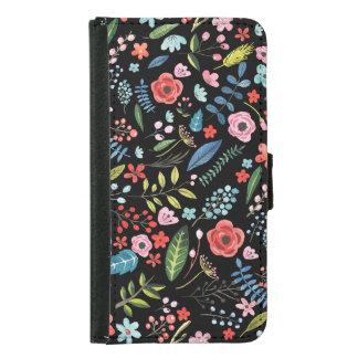 Capa Carteira Para Samsung Galaxy S5 Teste padrão botânico bonito colorido das flores &