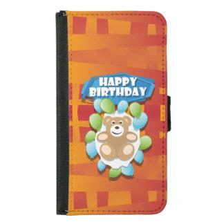 Capa Carteira Para Samsung Galaxy S5 Ursinho do feliz aniversario da ilustração com