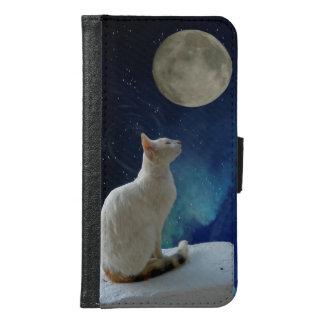 Capa Carteira Para Samsung Galaxy S6 Gato e lua