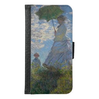 Capa Carteira Para Samsung Galaxy S6 Mulher com um parasol por Claude Monet