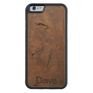 Capa De Bordo Bumper Para iPhone 6 A noz no bordo cinzelou o caso de madeira do
