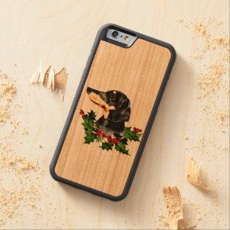 Capa De Cerejeira Bumper Para iPhone 6 Azevinho doce do Dachshund e do Natal