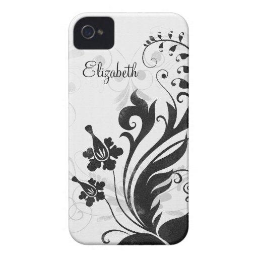 Capa de iphone 4 floral branco preto personalizado capas iPhone 4 Case-Mate