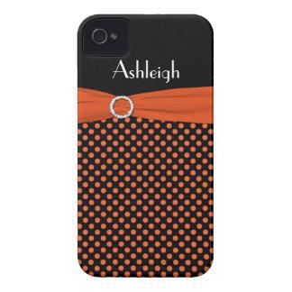 Capa de iphone 4 preto, alaranjado personalizado