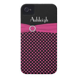 Capa de iphone 4 preto, cor-de-rosa personalizado
