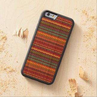 Capa De Madeira Cerejeira Bumper Para iPhone 6 Design abstrato listrado tribal do teste padrão