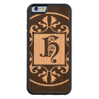 Capa De Madeira Cerejeira Bumper Para iPhone 6 Inicial decorativa H do monograma
