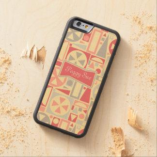 Capa De Madeira De Bordo Bumper Para iPhone 6 Nome moderno do meio século retro geométrico dos