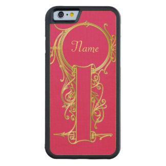 Capa De Madeira De Bordo Bumper Para iPhone 6 Quadro do monograma do ouro