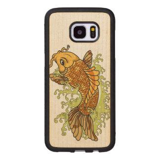 Capa De Madeira Para Samsung Galaxy S7 Edge Peixe dourado colorido Koi