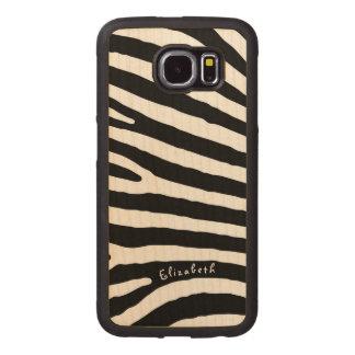 Capa De Madeira Para Telefone Listras do teste padrão da zebra, as pretas & as