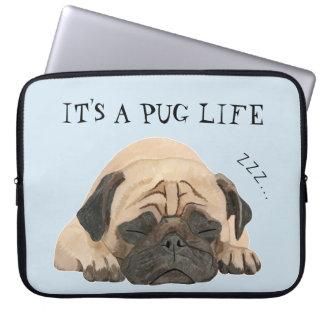 Capa De Notebook A bolsa de laptop ilustrada Pug do sono