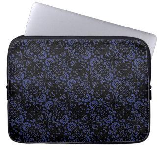 Capa De Notebook A bolsa de laptop preta e azul do damasco