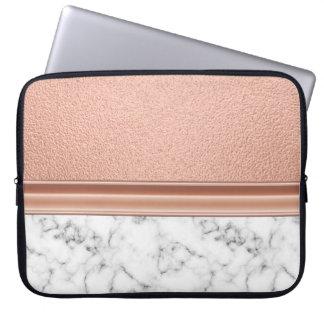 Capa De Notebook Folha de ouro cor-de-rosa no mármore