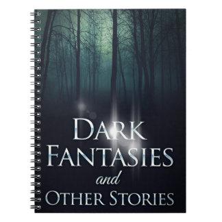 """Capa do livro """"de fantasia escuras"""" por Joel Puga Caderno Espiral"""