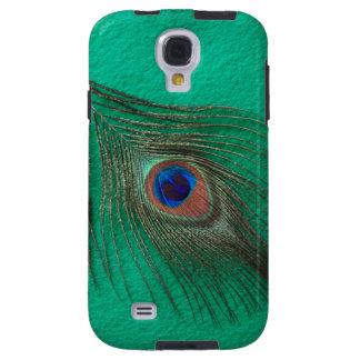Capa Galaxy S4 Pena do pavão no verde