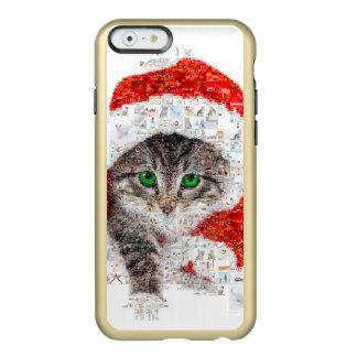 Capa Incipio Feather® Shine Para iPhone 6 gato de Papai Noel - colagem do gato - gatinho -