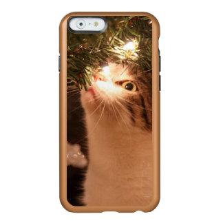 Capa Incipio Feather® Shine Para iPhone 6 Gatos e luzes - gato do Natal - árvore de Natal