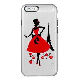 Capa Incipio Feather® Shine Para iPhone 6 Silhueta preta vermelha da mulher retro com torre
