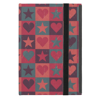 Capa iPad Mini Corações e rosa do teste padrão de estrelas