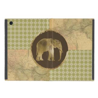 Capa iPad Mini Elefante africano no mapa e no Argyle